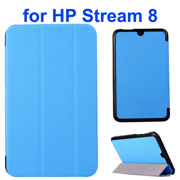 Karst Texture 3 Folding Folio Flip Leather Case Cover for HP Stream 8 (Baby Blue)