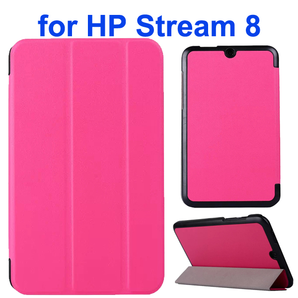 Karst Texture 3 Folding Folio Flip Leather Case Cover for HP Stream 8 (Hot Pink)