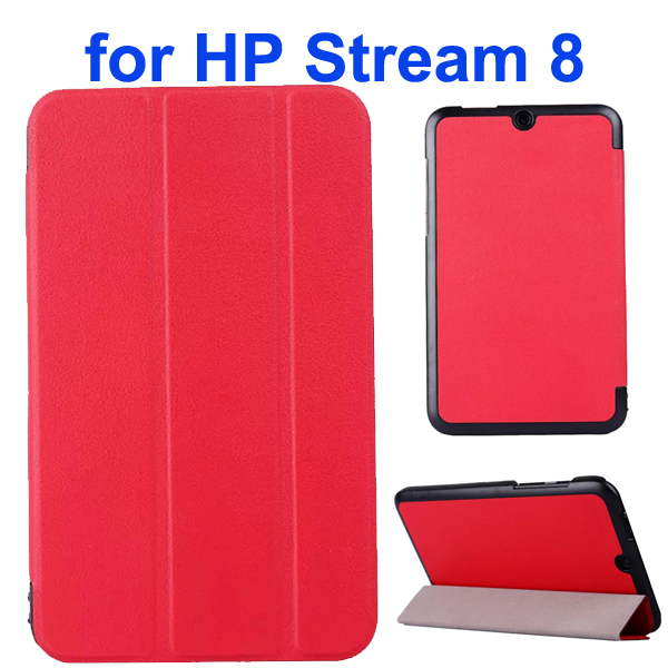 Karst Texture 3 Folding Folio Flip Leather Case Cover for HP Stream 8 (Red)
