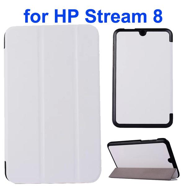 Karst Texture 3 Folding Folio Flip Leather Case Cover for HP Stream 8 (White)