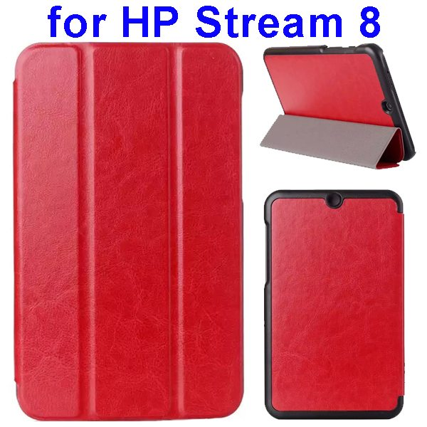 Crazy Horse Texture 3 Folding Flip Leather Case for HP Stream 8 (Red)