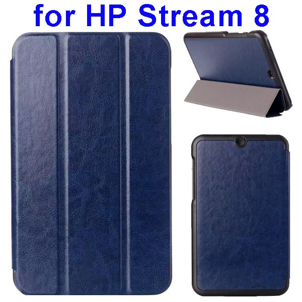 Crazy Horse Texture 3 Folding Flip Leather Case for HP Stream 8 (Dark Blue)