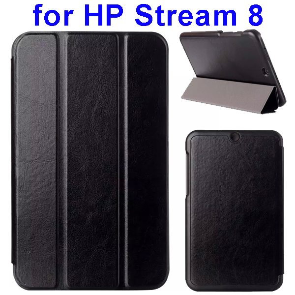 Crazy Horse Texture 3 Folding Flip Leather Case for HP Stream 8 (Black)