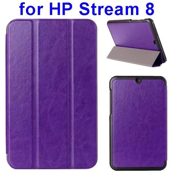 Crazy Horse Texture 3 Folding Flip Leather Case for HP Stream 8 (Purple)