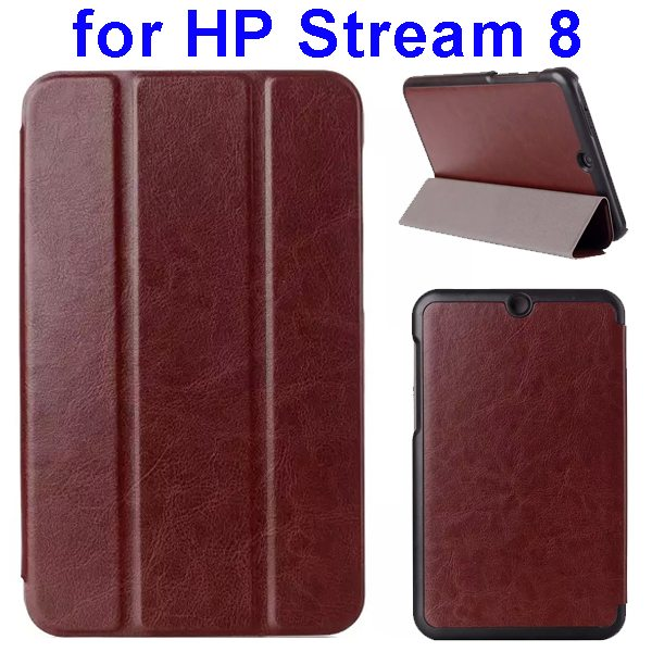 Crazy Horse Texture 3 Folding Flip Leather Case for HP Stream 8 (Coffee)