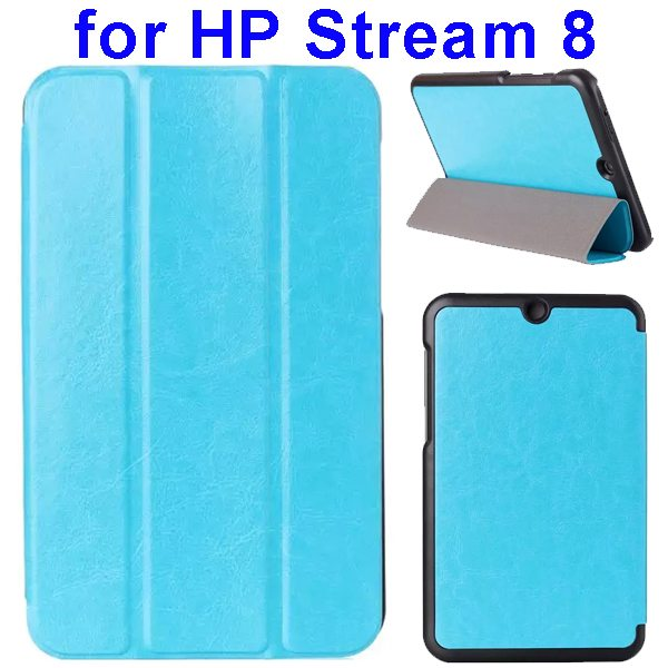 Crazy Horse Texture 3 Folding Flip Leather Case for HP Stream 8 (Light Blue)