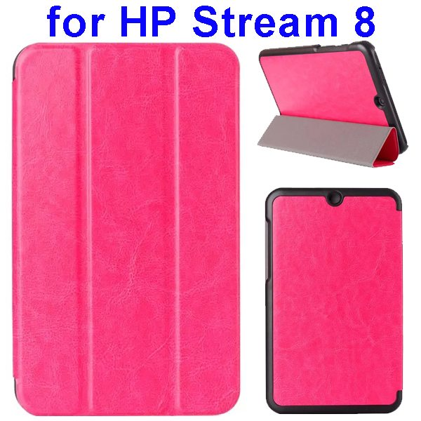 Crazy Horse Texture 3 Folding Flip Leather Case for HP Stream 8 (Rose)