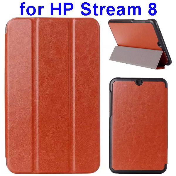 Crazy Horse Texture 3 Folding Flip Leather Case for HP Stream 8 (Brown)