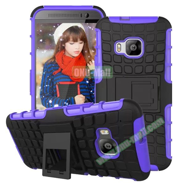 Antiskid 2 in 1 TPU and PC Case for HTC One M9 with Kickstand (Purple)