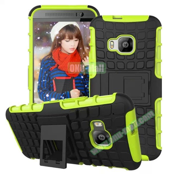 Antiskid 2 in 1 TPU and PC Case for HTC One M9 with Kickstand (Green)