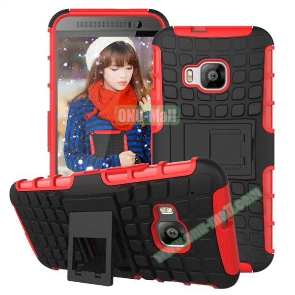 Antiskid 2 in 1 TPU and PC Case for HTC One M9 with Kickstand (Red)