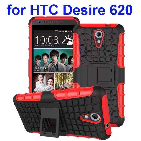 2 in 1 Rugged Hybrid Protective Phone Case Cover for HTC Desire 620 with Kickstand (Red)