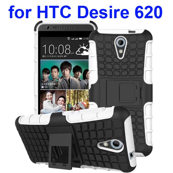 2 in 1 Rugged Hybrid Protective Phone Case Cover for HTC Desire 620 with Kickstand (White)