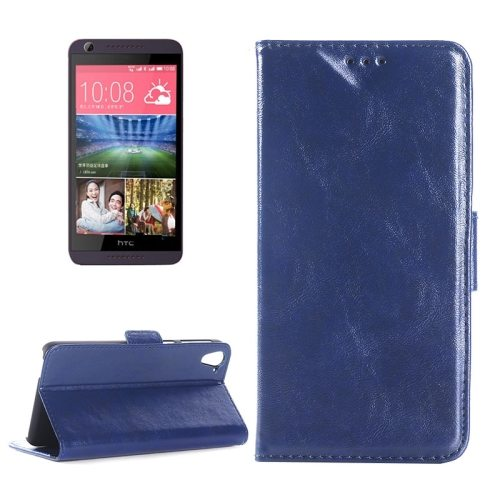 Crazy Horse Texture Leather Flip Cover for HTC Desire 626 with Card Slots & Holder (Blue)