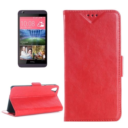 Crazy Horse Texture Leather Flip Cover for HTC Desire 626 with Card Slots & Holder (Red)