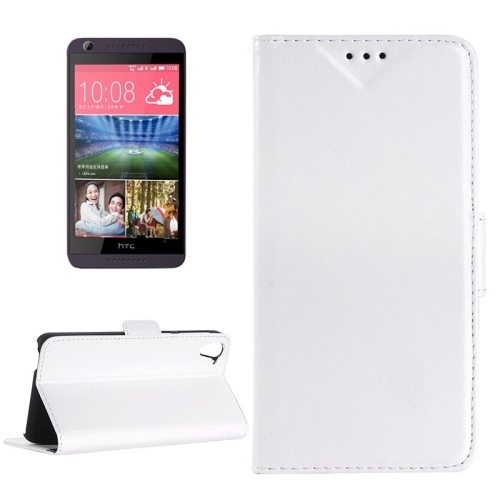 Crazy Horse Texture Leather Flip Cover for HTC Desire 626 with Card Slots & Holder (White)