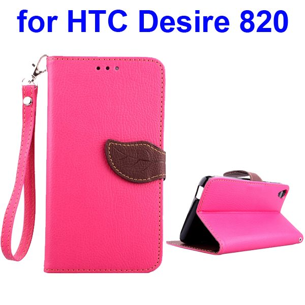 Cute Leaf Buckle Litchi Texture Wallet Flip Leather Case for HTC Desire 820 (Rose)