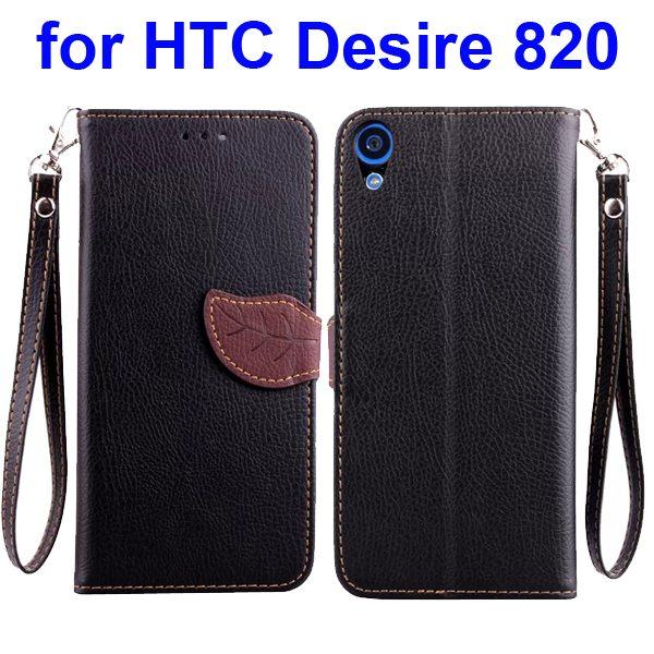 Cute Leaf Buckle Litchi Texture Wallet Flip Leather Case for HTC Desire 820 (Black)