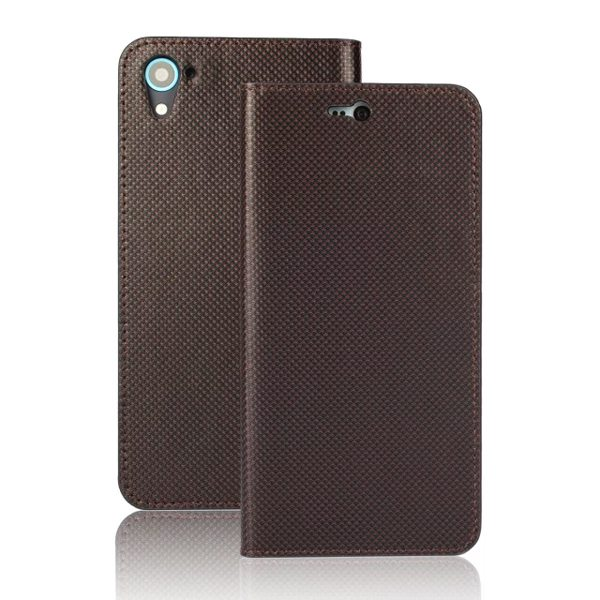 Grid Pattern Flip Wallet Genuine Leather Cover for HTC Desire 826 with Card Slots (Dark Brown)