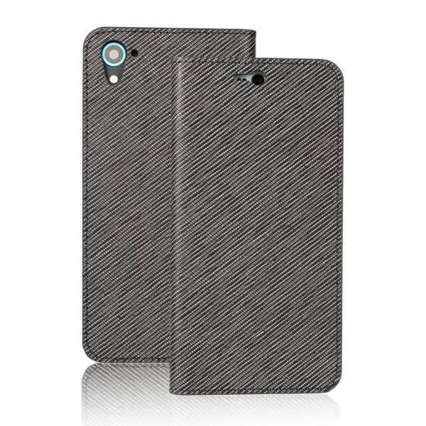 Grid Pattern Flip Wallet Genuine Leather Cover for HTC Desire 826 with Card Slots (Grey)