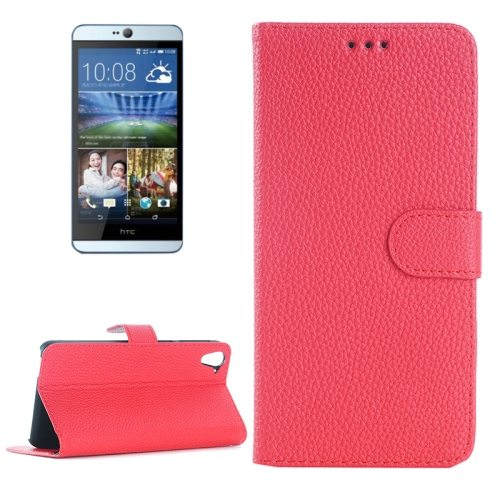 Litchi Texture Horizontal Flip Leather Case for HTC Desire 826 with Card Slots & Holder (Red)