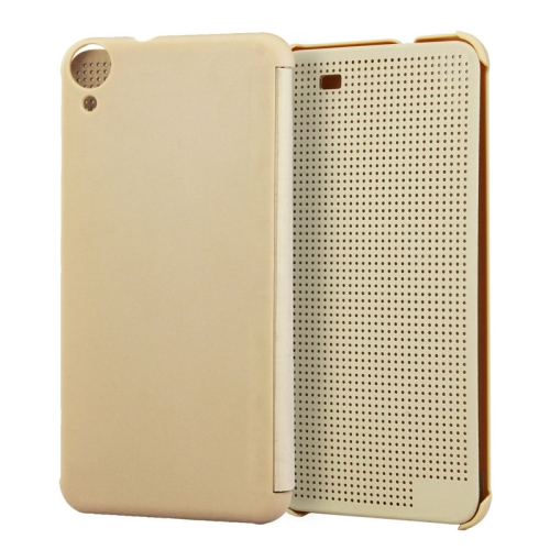 Dot View Design Hard PC Case for HTC Desire 820 with Sleep and Wake-up Function (Gold)