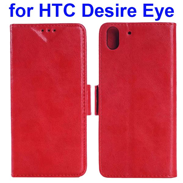 Oil Printing Crazy Horse Texture Wallet Leather Case for HTC Desire Eye (Red)