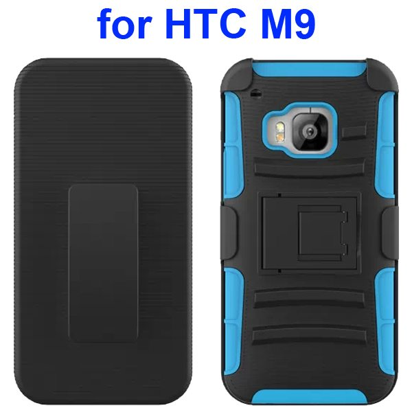 3 in 1 Silicone and Hard Shockproof Hybrid Case for HTC M9 with Kickstand and Belt Clip (Light Blue)