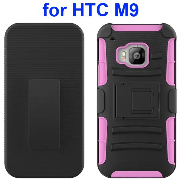 3 in 1 Silicone and Hard Shockproof Hybrid Case for HTC M9 with Kickstand and Belt Clip (Pink)