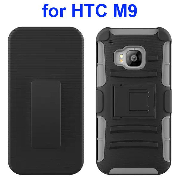 3 in 1 Silicone and Hard Shockproof Hybrid Case for HTC M9 with Kickstand and Belt Clip (Grey)