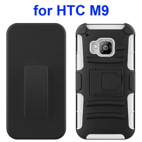 3 in 1 Silicone and Hard Shockproof Hybrid Case for HTC M9 with Kickstand and Belt Clip (White)