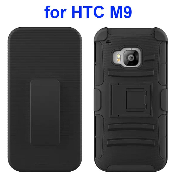 3 in 1 Silicone and Hard Shockproof Hybrid Case for HTC M9 with Kickstand and Belt Clip (Black)