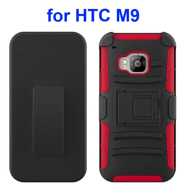 3 in 1 Silicone and Hard Shockproof Hybrid Case for HTC M9 with Kickstand and Belt Clip (Red)