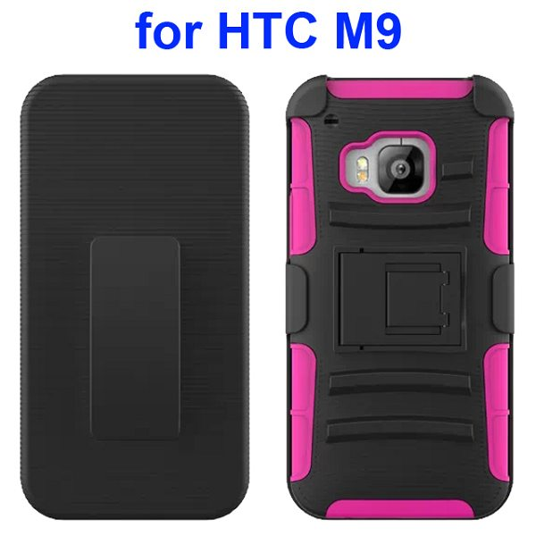 3 in 1 Silicone and Hard Shockproof Hybrid Case for HTC M9 with Kickstand and Belt Clip (Rose)