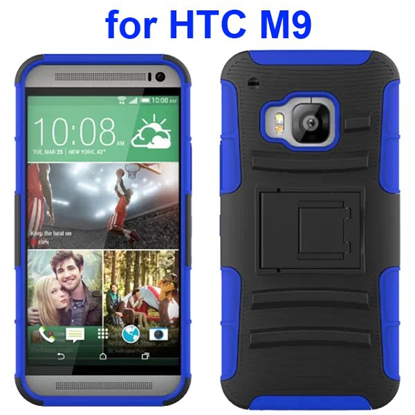 3 in 1 Silicone and Hard Shockproof Hybrid Case for HTC M9 with Kickstand and Belt Clip (Dark Blue)