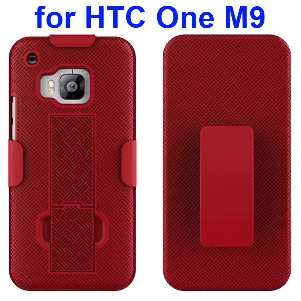 2 in 1 Hard Shockproof Hybrid Cover for HTC One M9 with Stand and Belt Clip (Red)