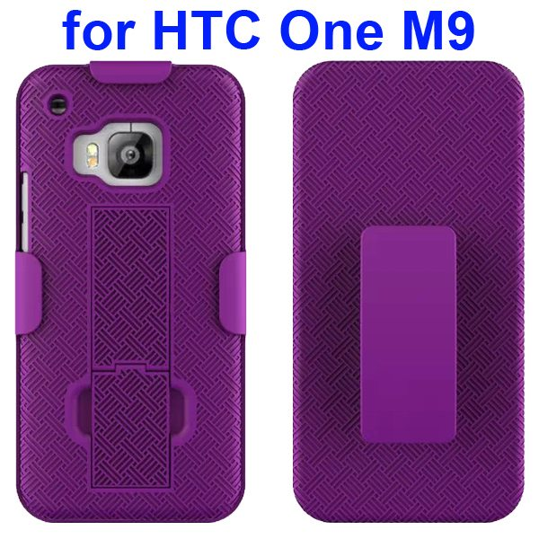 2 in 1 Hard Shockproof Hybrid Cover for HTC One M9 with Stand and Belt Clip (Purple)