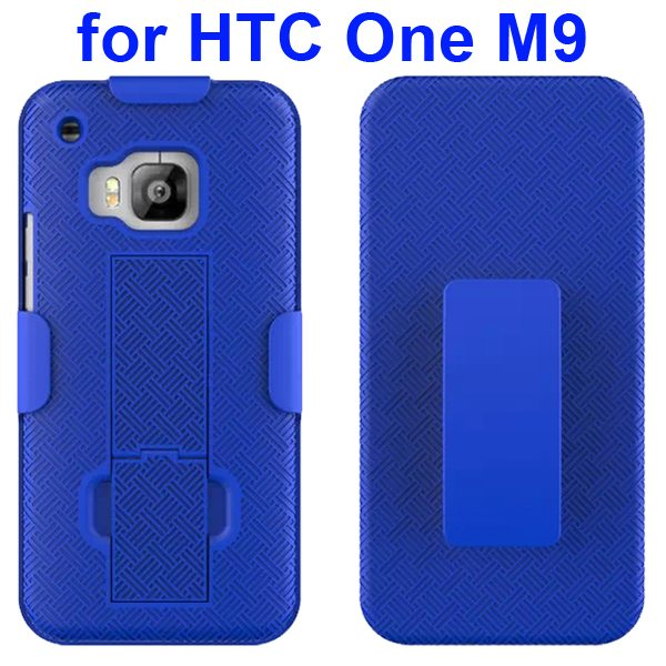 2 in 1 Hard Shockproof Hybrid Cover for HTC One M9 with Stand and Belt Clip (Blue)