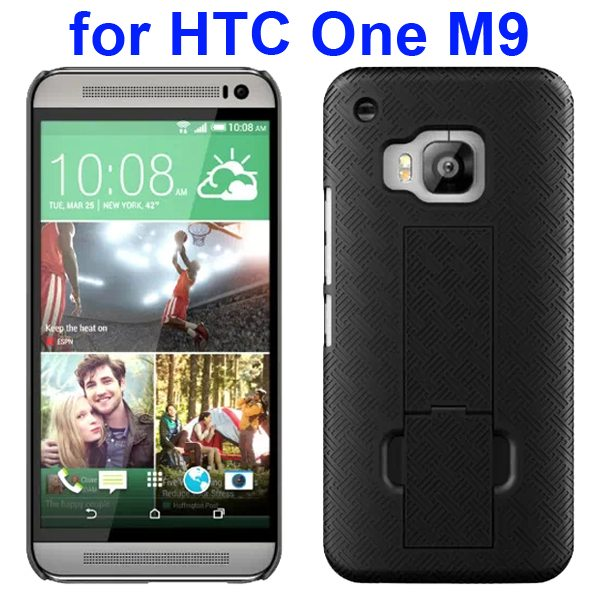 2 in 1 Hard Shockproof Hybrid Cover for HTC One M9 with Stand and Belt Clip (Black)