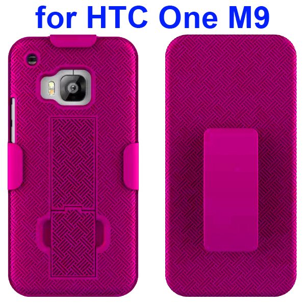 2 in 1 Hard Shockproof Hybrid Cover for HTC One M9 with Stand and Belt Clip ((Magenta)