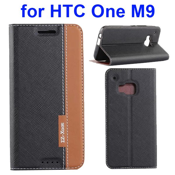 Cross Texture Flip Leather Cover for HTC One M9 with Holder and Card Slots (Black + Brown)