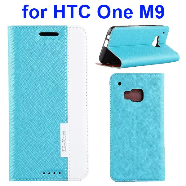 Cross Texture Flip Leather Cover for HTC One M9 with Holder and Card Slots (Blue + White)