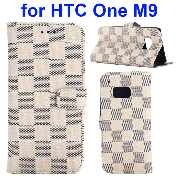 Grid Pattern Flip Magnetic Wallet Cover for HTC One M9 with Stand and Card Slots (Beige)