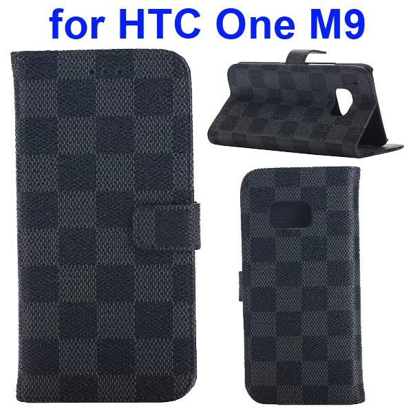 Grid Pattern Flip Magnetic Wallet Cover for HTC One M9 with Stand and Card Slots (Grey)