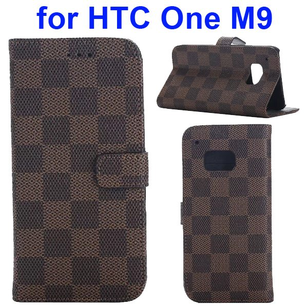 Grid Pattern Flip Magnetic Wallet Cover for HTC One M9 with Stand and Card Slots (Brown)