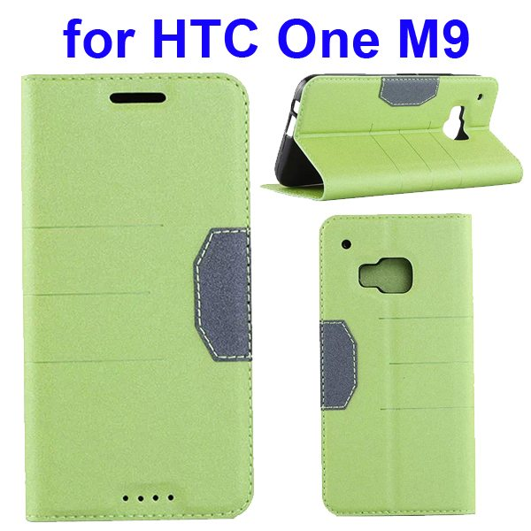Hybrid Color Frosted Flip Leather Cover for HTC One M9 with Stand and Card Slot (Green)