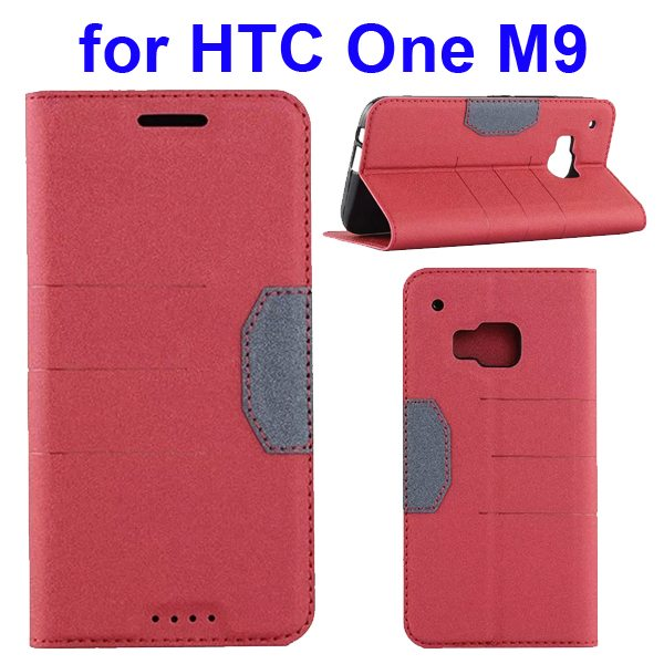 Hybrid Color Frosted Flip Leather Cover for HTC One M9 with Stand and Card Slot (Red)