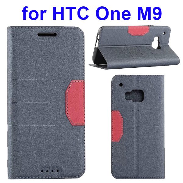Hybrid Color Frosted Flip Leather Cover for HTC One M9 with Stand and Card Slot (Black)