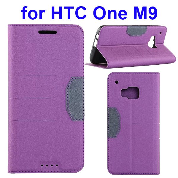 Hybrid Color Frosted Flip Leather Cover for HTC One M9 with Stand and Card Slot (Purple)