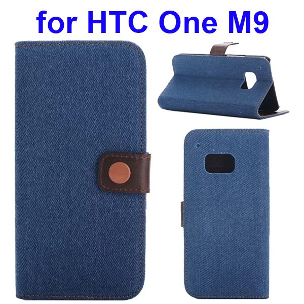 Denim Texture Flip Wallet Leather Case Cover for HTC One M9 with Card Slots (Light Blue)